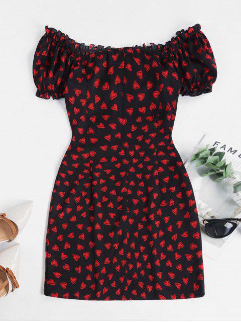 ZAFUL Vestido Gráfico Corazón y Flecos - Negro XL Mobile