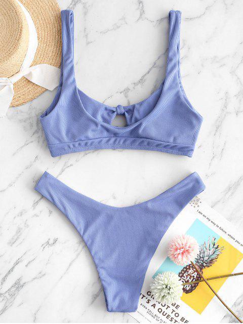 ZAFUL Bikini Acanalado con Nudo - Azul Suave L Mobile