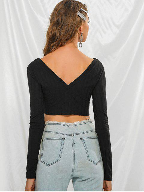 Camiseta Recortada Cuello V Botón - Negro L Mobile