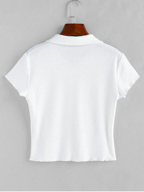 trendy ZAFUL Basic Ribbed Shirt - WHITE L Mobile