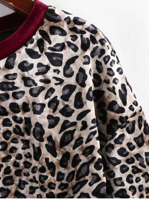 buy ZAFUL Velvet Leopard Print T Shirt - RED WINE L Mobile