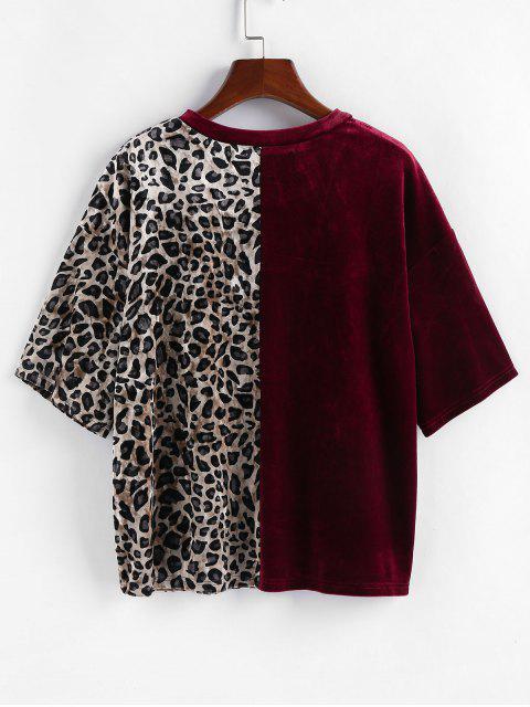 lady ZAFUL Velvet Leopard Print T Shirt - RED WINE XL Mobile