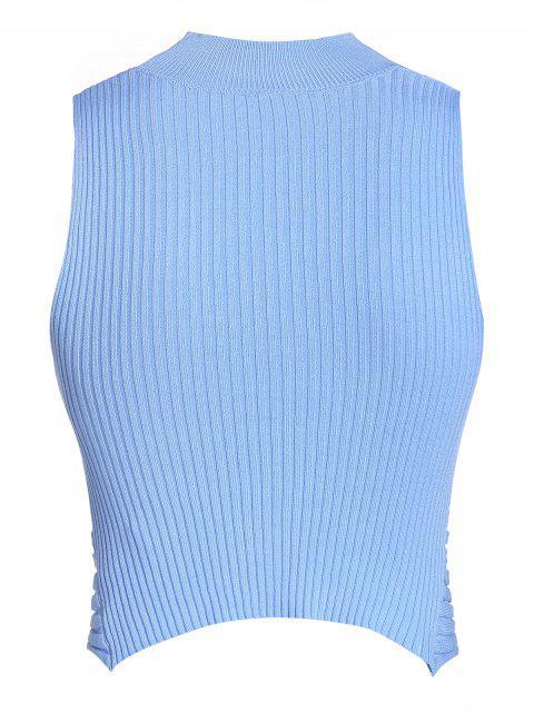 ZAFUL Crop top com Cruzado e Decote de Amarras Cortado - Dia Céu Azul L Mobile