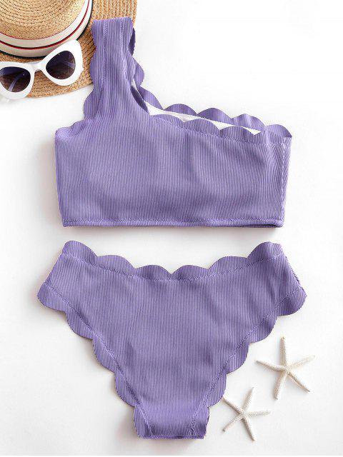 ZAFUL Gerippter Überbackener Tankini Badebekleidung mit Einziger Schulter - Lavendel Blau S Mobile
