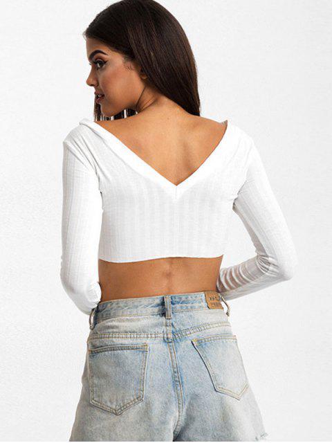Camiseta Recortada Cuello V Botón - Blanco M Mobile