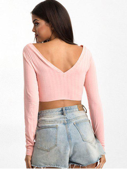 hot Mock Button V Neck Crop Tee - PINK M Mobile