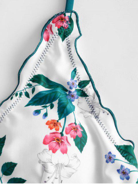 best ZAFUL Plant Print Lettuce-trim Lace Up Bikini Swimsuit - PEACOCK BLUE S Mobile