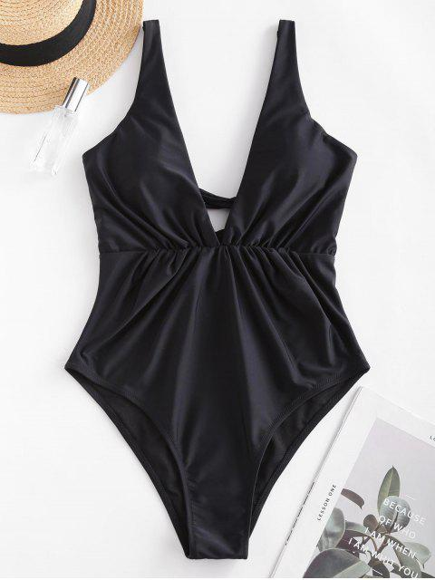 outfits ZAFUL Lace-up Ruched One-piece Swimsuit - BLACK XL Mobile