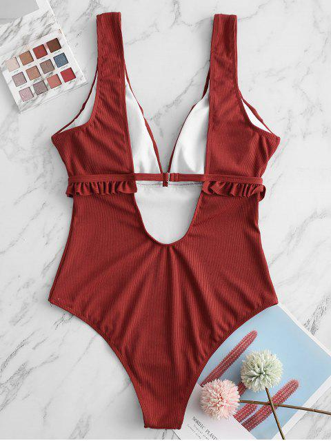 outfit ZAFUL Plunge Ribbed Frilled One-piece Swimsuit - CHERRY RED L Mobile