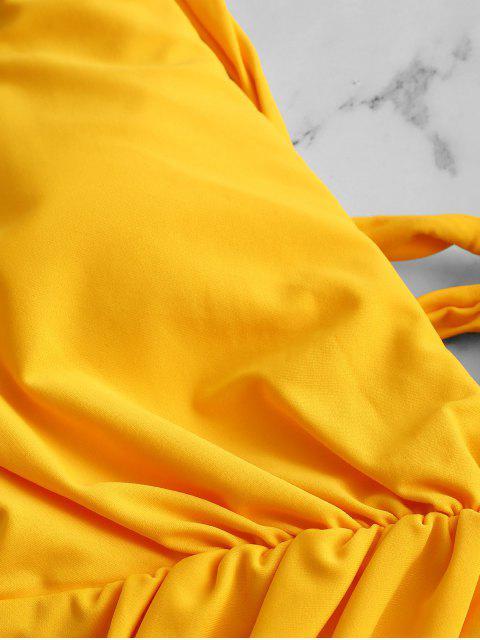 Costume Intero Increspato con Lacci di ZAFUL - Senape L Mobile