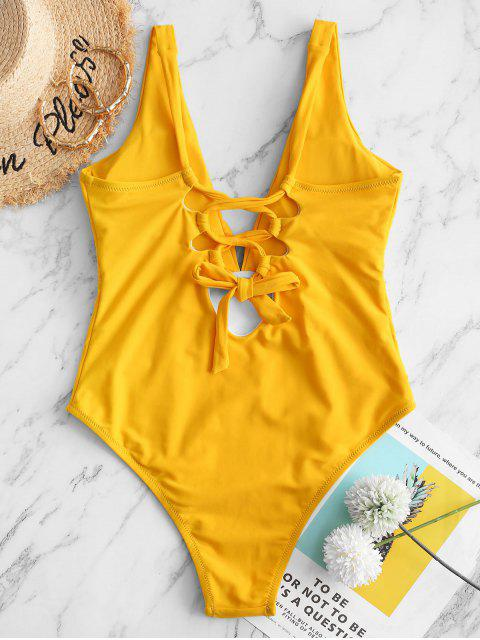 hot ZAFUL Lace-up Ruched One-piece Swimsuit - MUSTARD XL Mobile