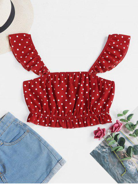 ladies ZAFUL Cropped Dotted Peplum Hem Tank Top - CHERRY RED L Mobile
