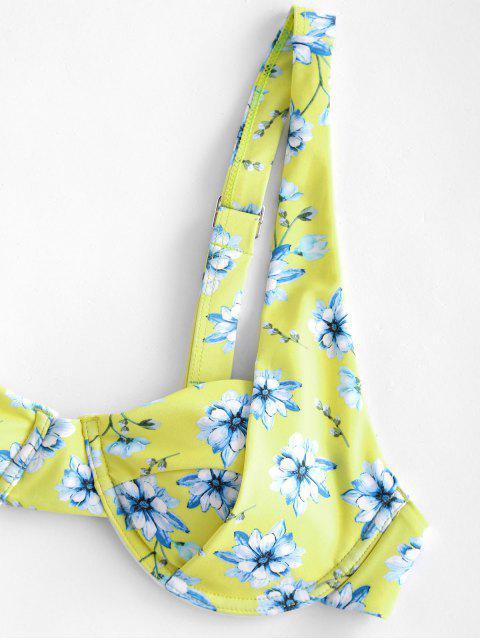 ZAFUL Biquíni de Perna Alta Floral com Meia-Taça - Amarelo S Mobile