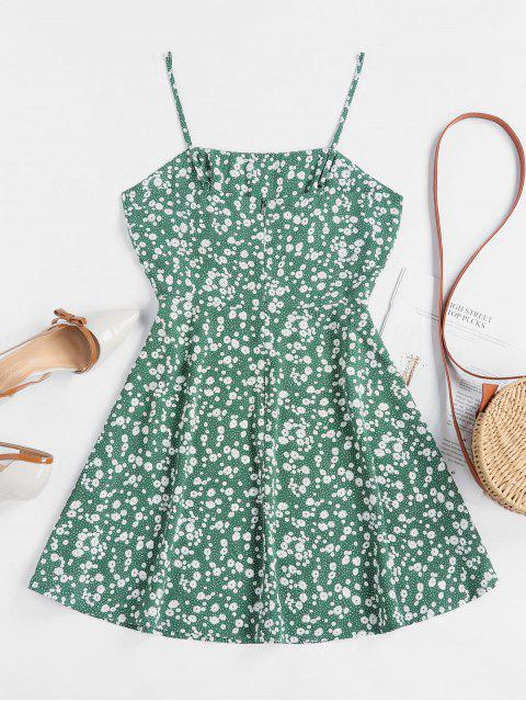 unique ZAFUL Tiny Floral Empire Waist Flare Dress - SEA TURTLE GREEN M Mobile
