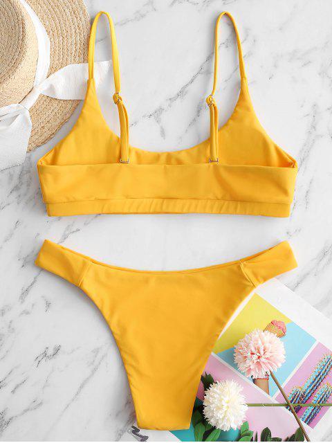 lady ZAFUL Front Cutout Bikini Swimsuit - MUSTARD S Mobile
