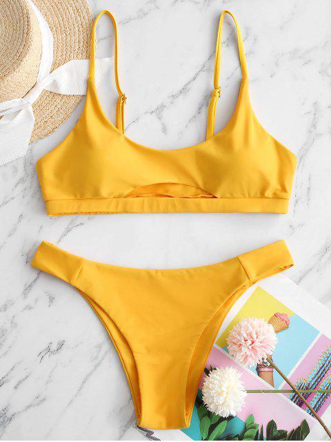 best ZAFUL Front Cutout Bikini Swimsuit - MUSTARD M Mobile