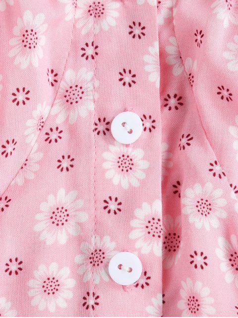 ZAFUL小さな花作物牛乳を注ぐ女ブラウス - ライトピンク XL Mobile