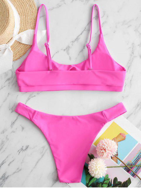 shop ZAFUL Front Cutout Bikini Swimsuit - HOT PINK S Mobile