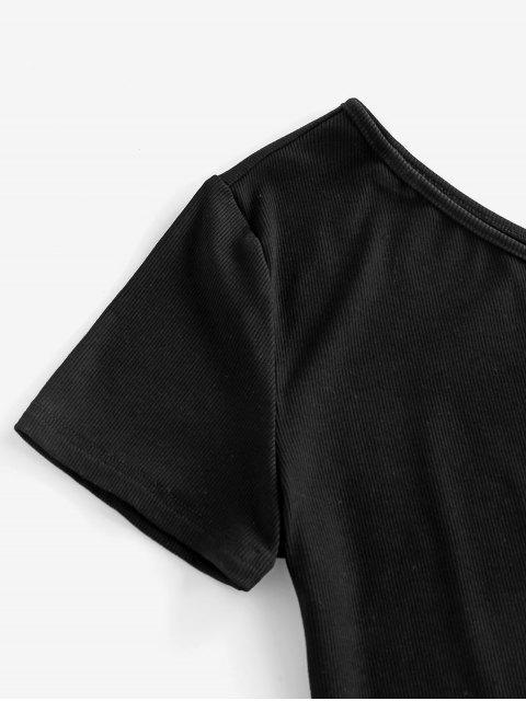 ZAFUL T-shirt Court Côtelé à Une Epaule - Noir S Mobile