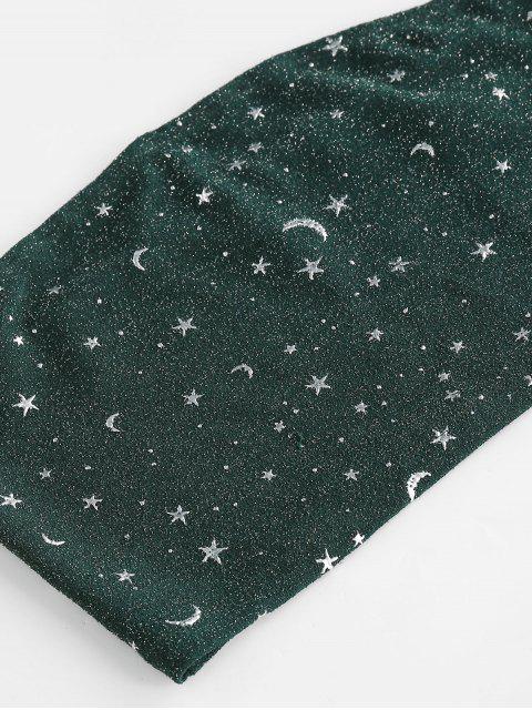 ZAFUL Glitter Stern Mond Bandeau Co Ord Set - Mittleres Meer Grün M Mobile