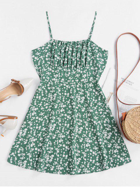 ZAFUL Winzige Blumen Empire Taille Flare Kleid - Meeresschildkröte Grün XS Mobile