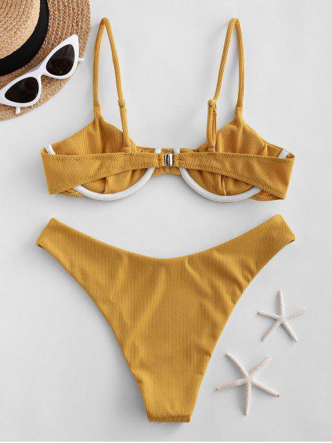 women's ZAFUL Ribbed Underwire Solid Bikini Swimsuit - BRIGHT YELLOW M Mobile