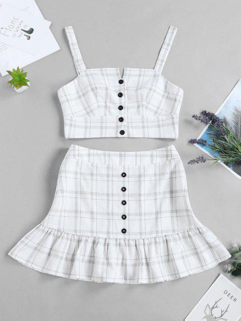 buy ZAFUL Checked Buttoned Top and Ruffles Skirt Set - WHITE L Mobile
