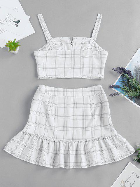fancy ZAFUL Checked Buttoned Top and Ruffles Skirt Set - WHITE XL Mobile