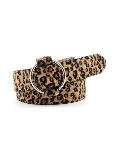 Round Buckle Animal Skin Print Casual Belt - Leopard