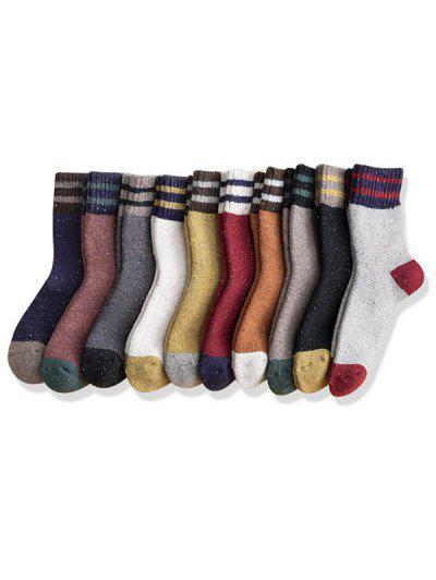 10 Pairs Stripe Confetti Print Socks Set