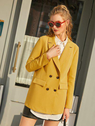 ZAFUL Flap Pockets Solid Double Breasted Blazer - Bright Yellow Xl