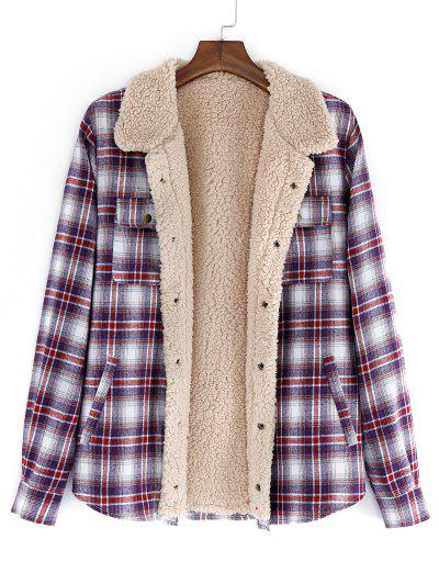 ZAFUL Plaid Pattern Casual Button Fluffy Jacket - Firebrick M