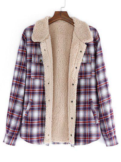 ZAFUL Plaid Pattern Casual Button Fluffy Jacket - Firebrick L