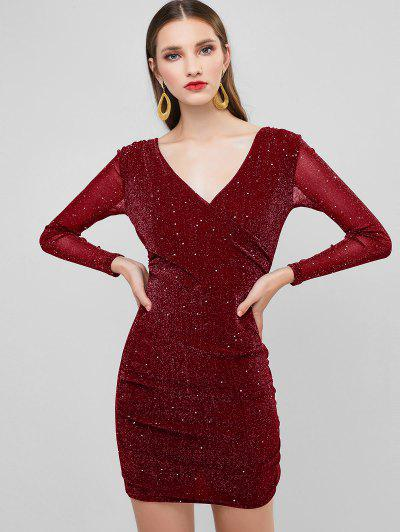 Glitter Plunging Ruched Bodycon Party Dress - Red Wine S