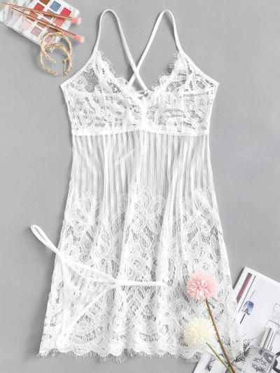 Eyelash Lace Lace up Babydoll Set