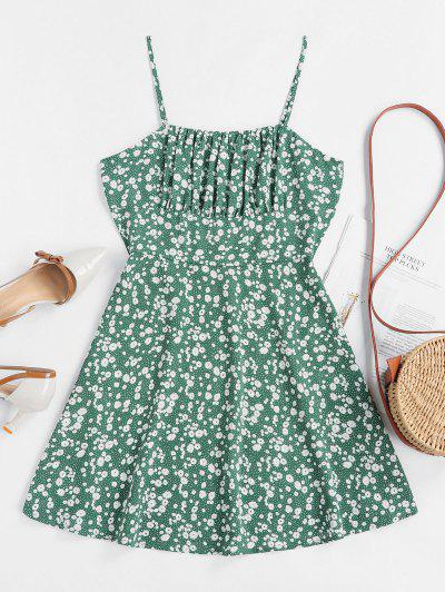ZAFUL Tiny Floral Empire Waist Flare Dress - Sea Turtle Green M