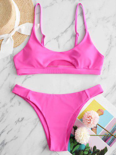 ZAFUL Front Cutout Bikini Swimsuit - Hot Pink S