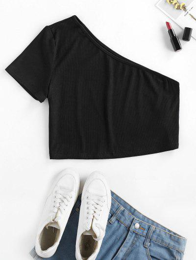 ZAFUL Ribbed One Shoulder Crop T-shirt - Black L