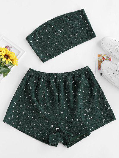 ZAFUL Glitter Star Moon Bandeau Co Ord Set - Medium Sea Green M