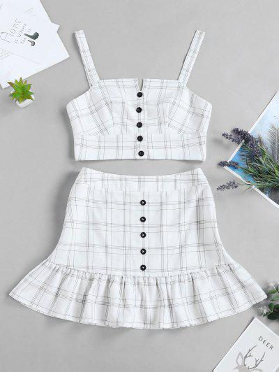 ZAFUL Checked Buttoned Top And Ruffles Skirt Set - White Xl
