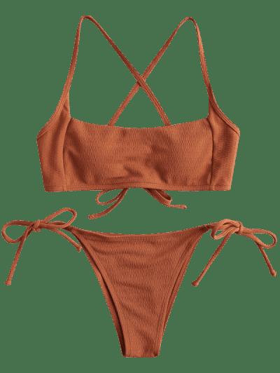 ZAFUL Square Textured Tie Side Bikini Swimsuit