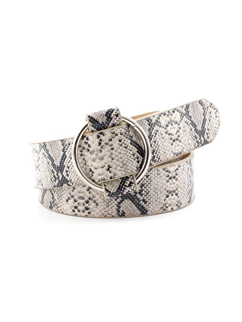Round Buckle Animal Skin Print Casual Belt