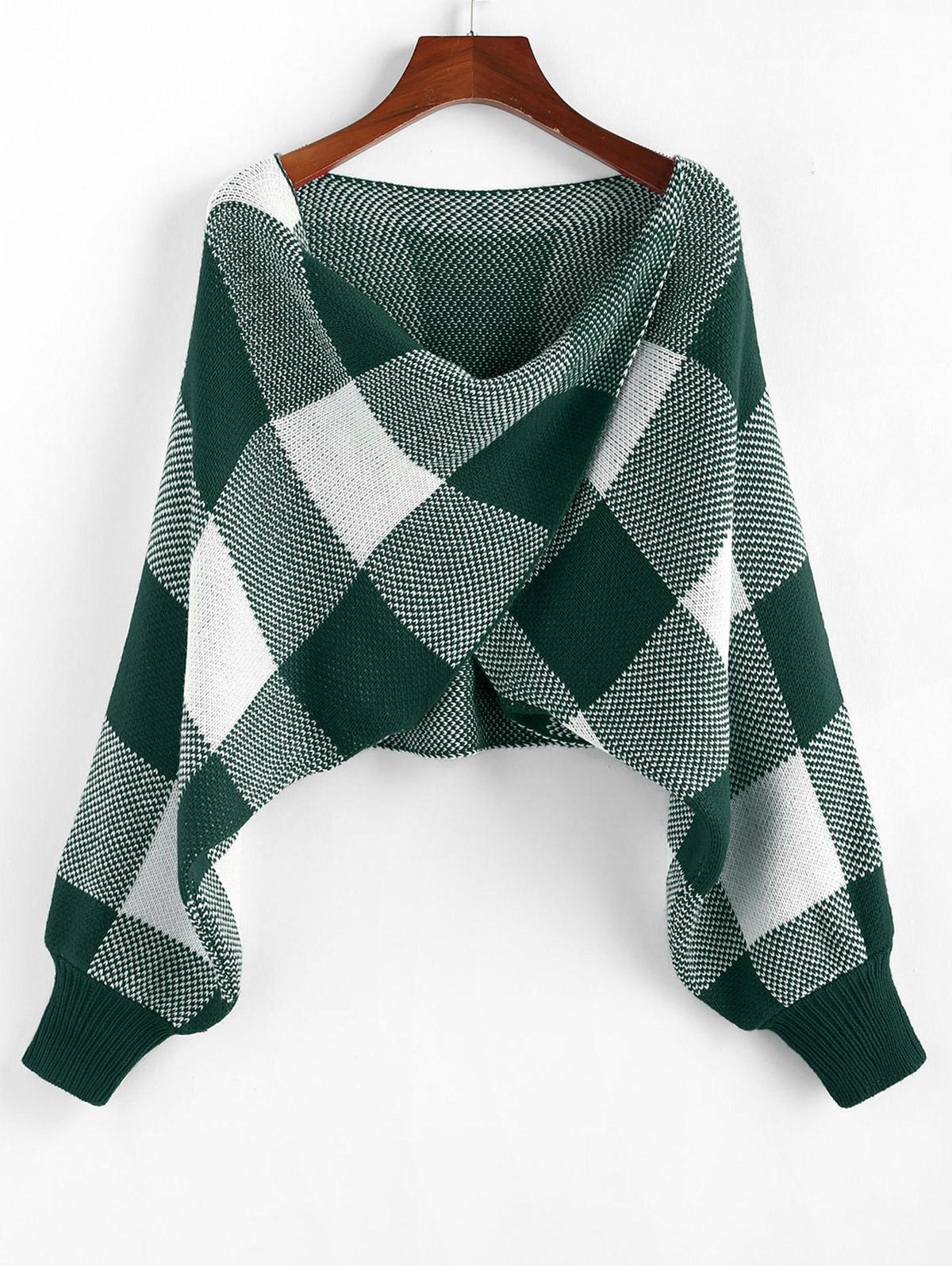 ZAFUL Checkered Cowl Front Twisted Batwing Sleeve Sweater