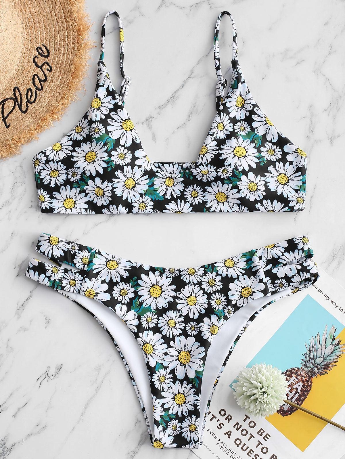 ZAFUL Side Cutout Daisy Print Bikini Swimsuit фото