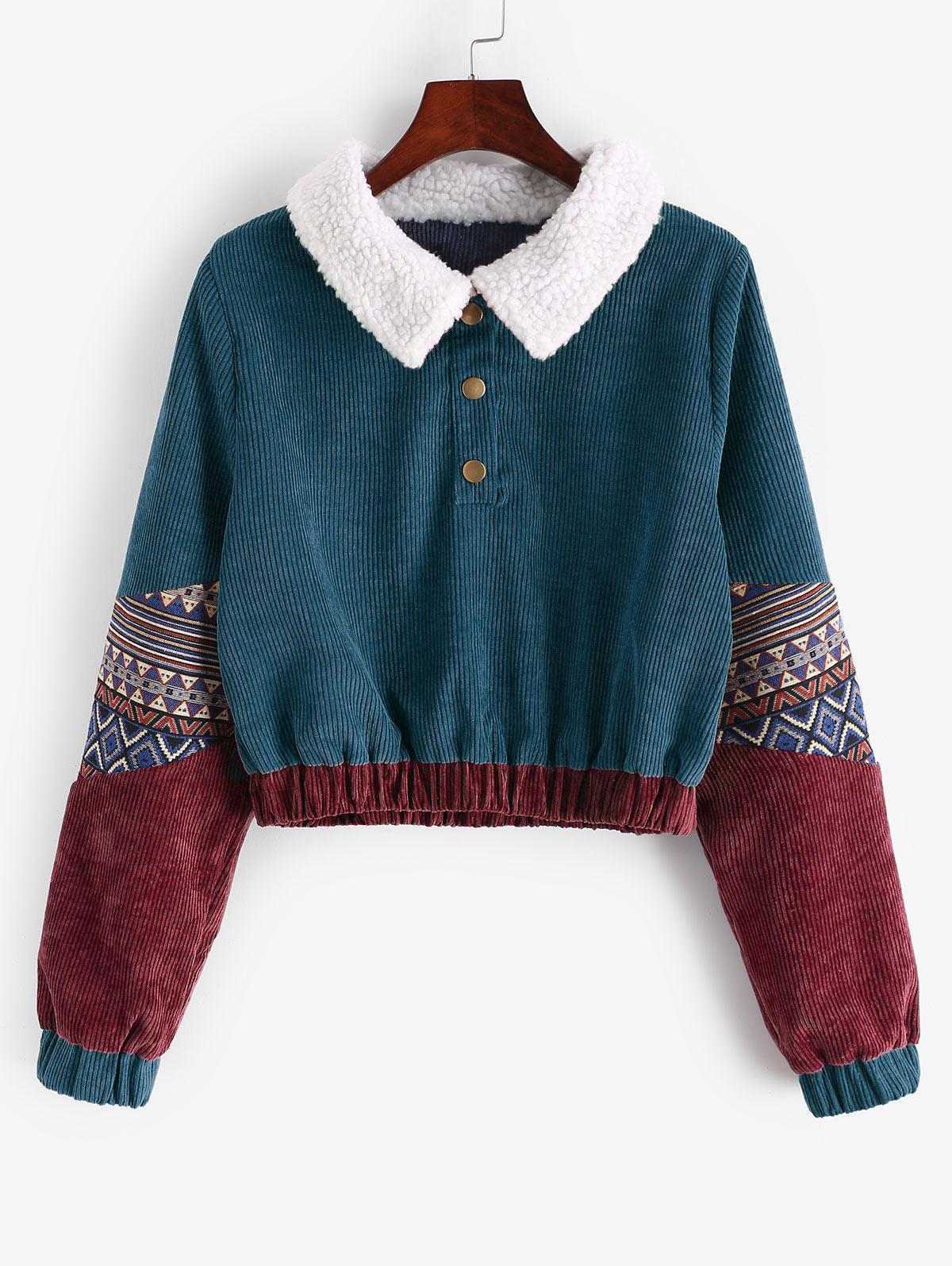 Snap Button Graphic Corduroy Sweatshirt фото
