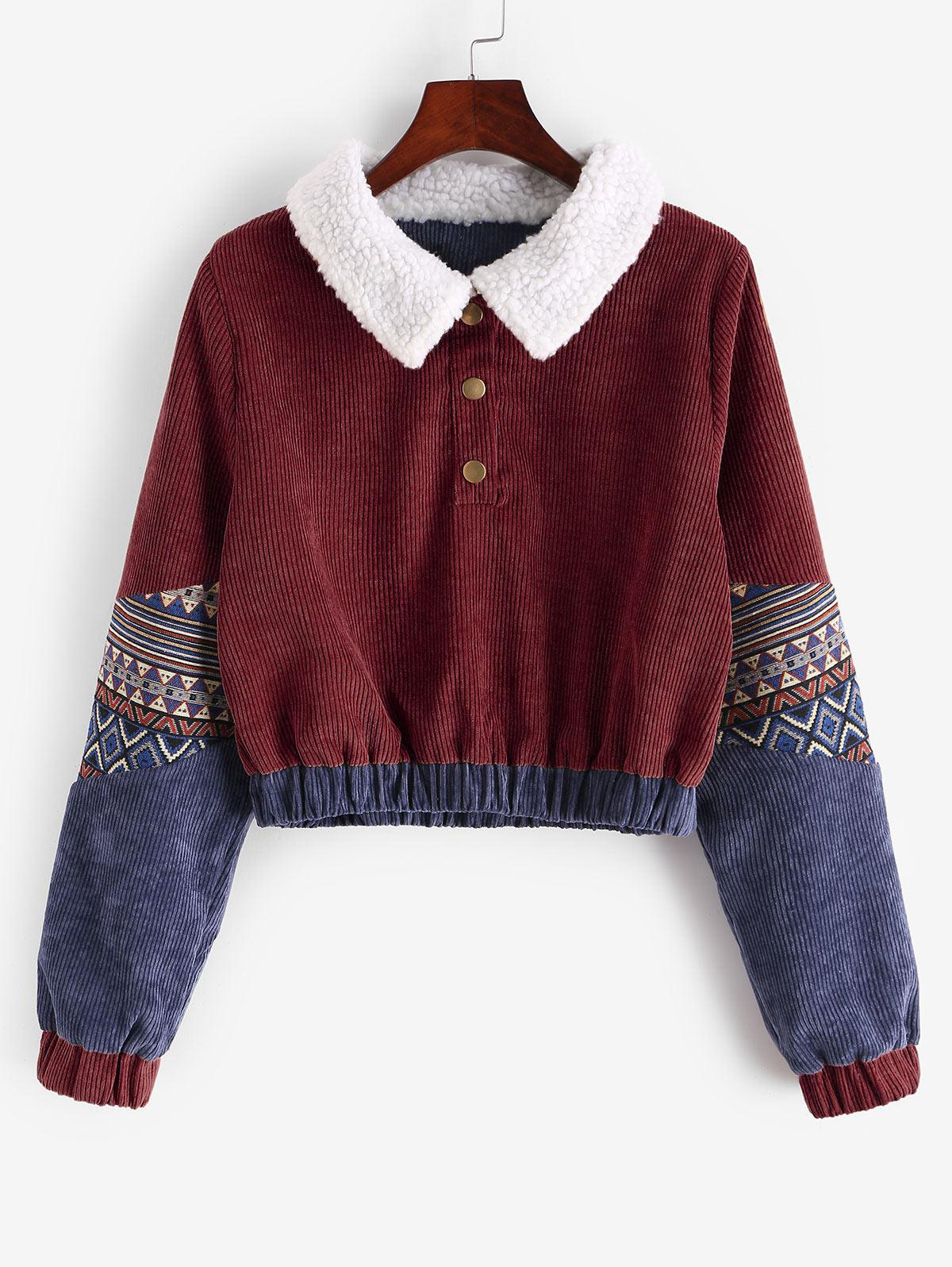 Snap Button Graphic Corduroy Sweatshirt фото