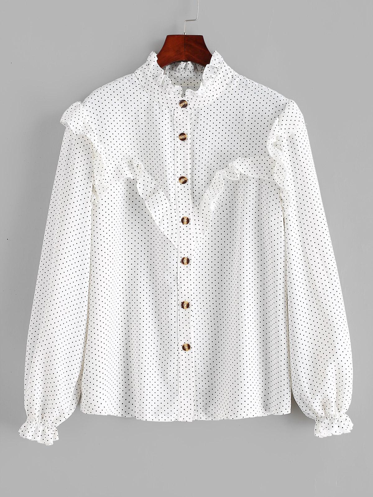 Polka Dot Ruffles Buttoned Blouse фото