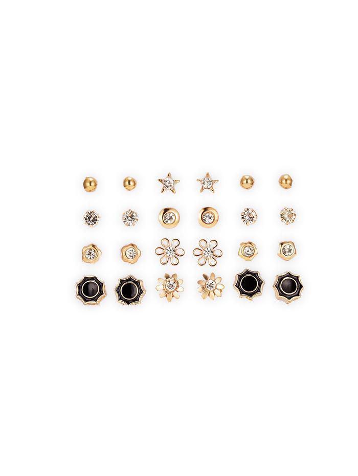 12 Piece Rhinestone Floral Star Round Stud Earrings Set thumbnail