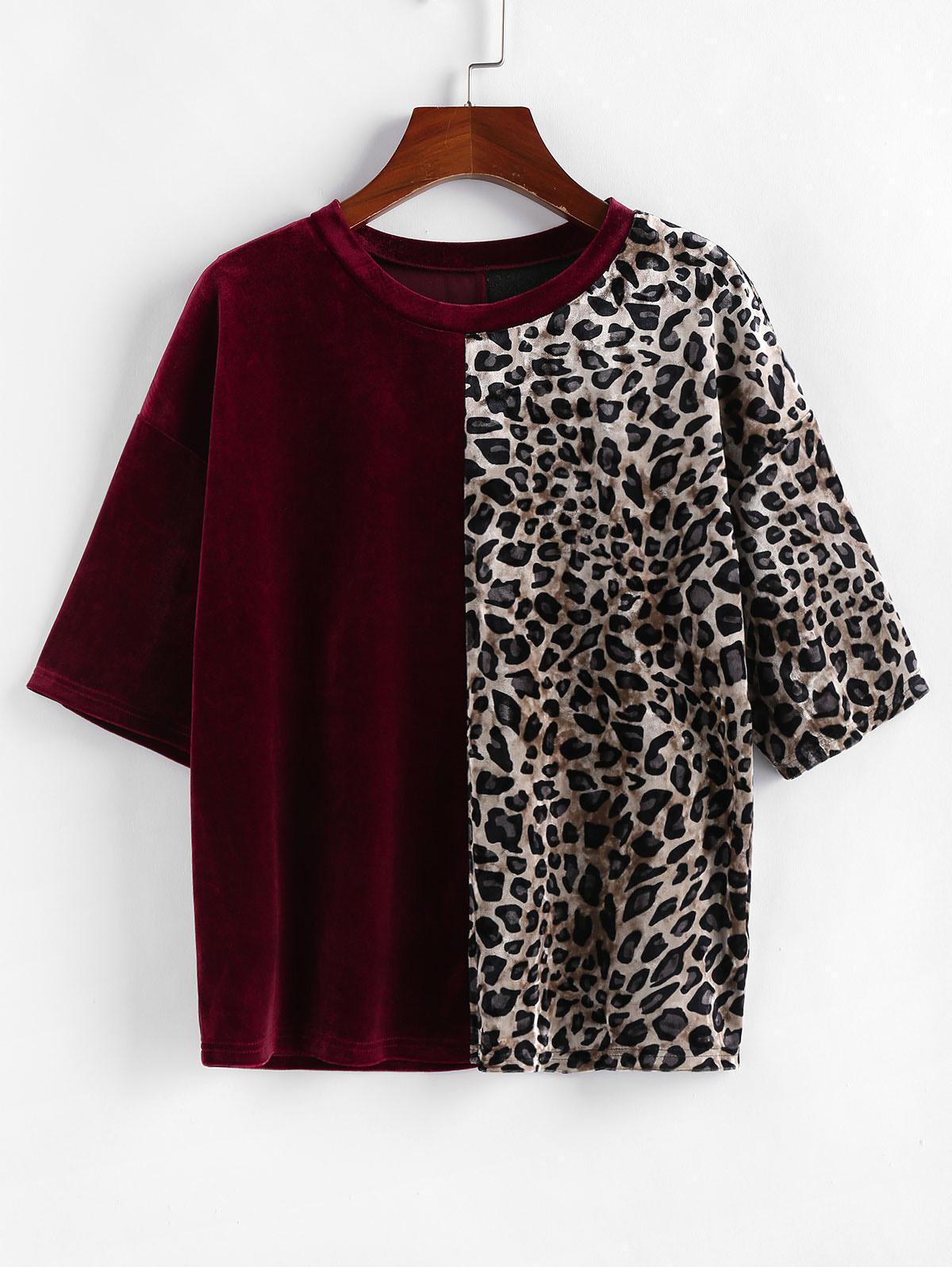 ZAFUL Velvet Leopard Print T Shirt фото