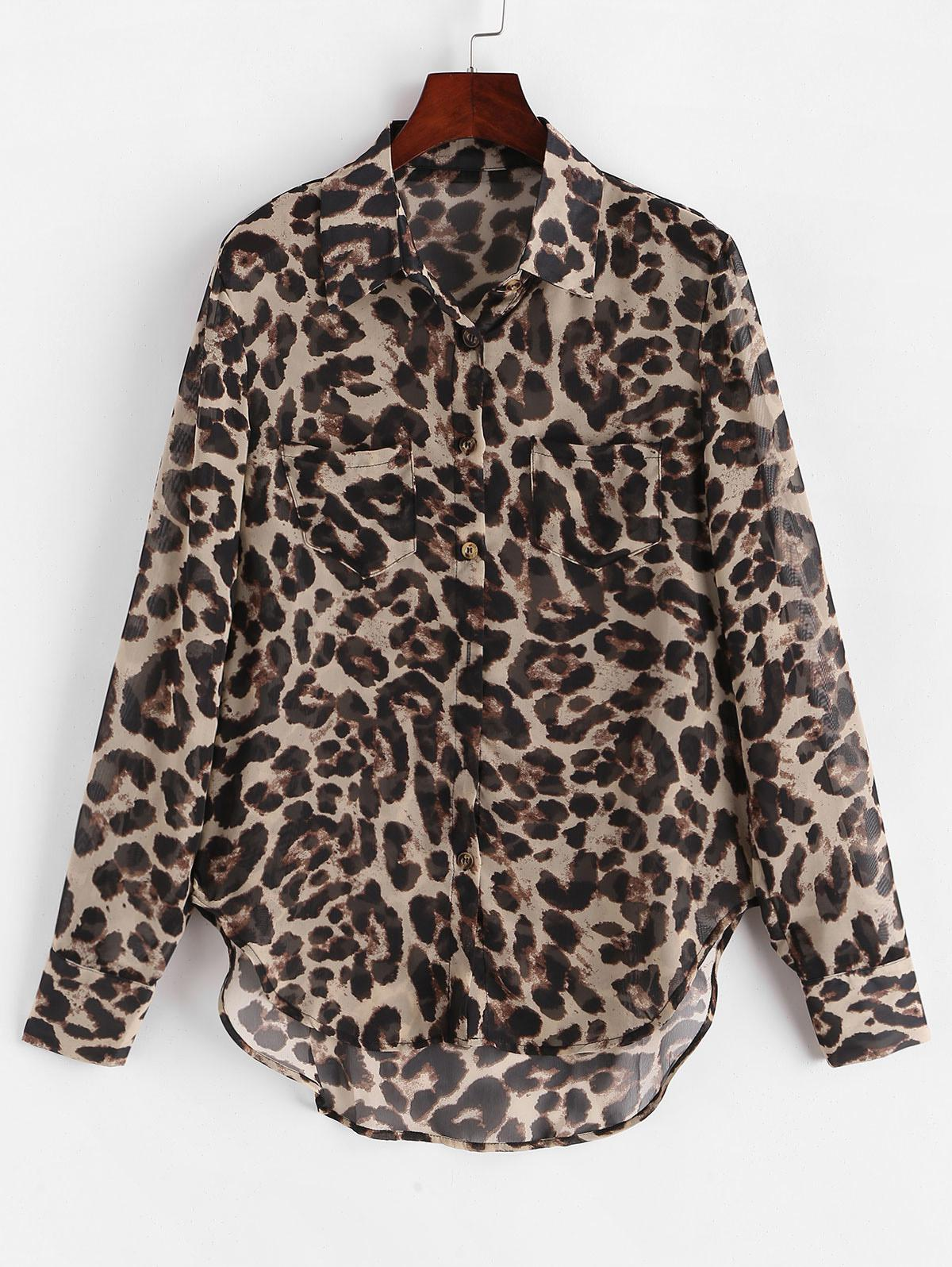 Leopard Print Buttoned High Low Shirt фото
